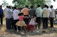 INDIA, Maharashtra, Vidarbha region, village Dorli, spontanously dancing girls in front of men group