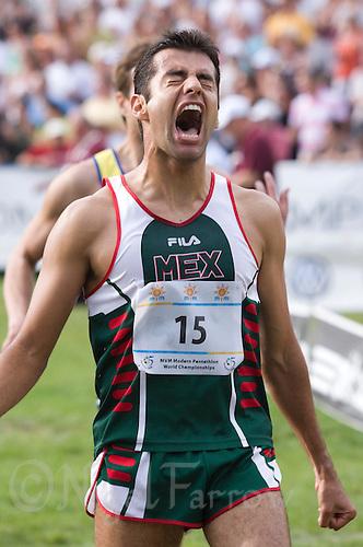01 JUN 2008 - BUDAPEST, HUN - Oscar Soto (MEX) celebrates his tenth place -  Modern Pentathlon World Championships. (PHOTO (C) NIGEL FARROW)