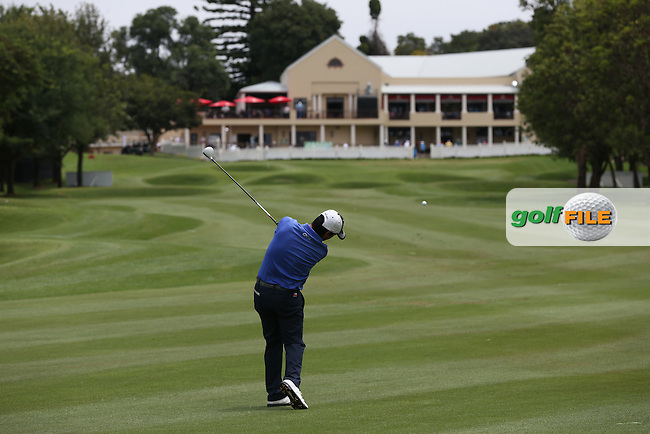 Felipe Aguilar (CHI) plays second shot to the heavily defended 18th green during the preview days of the 2016 Tshwane Open, played at the Pretoria Country Club, Waterkloof, Pretoria, South Africa.  10/02/2016. Picture: Golffile | David Lloyd<br /> <br /> All photos usage must carry mandatory copyright credit (&copy; Golffile | David Lloyd)