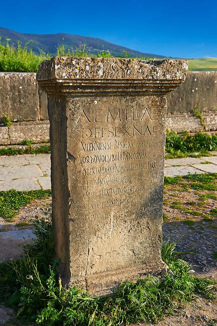 Latin Inscription on a Roman stone. Volubilis Archaeological Site, near Meknes, Morocco