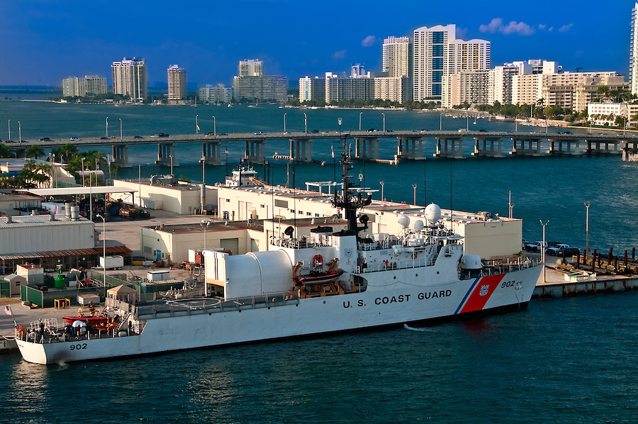 US Coast Guard Boat anchored in Miami Seaport