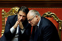 Giuseppe Conte and Roberto Gualtieri minister of Economy<br /> Rome September 10th 2019. Senate. Discussion and Trust vote at the new Government. <br /> Foto  Samantha Zucchi Insidefoto