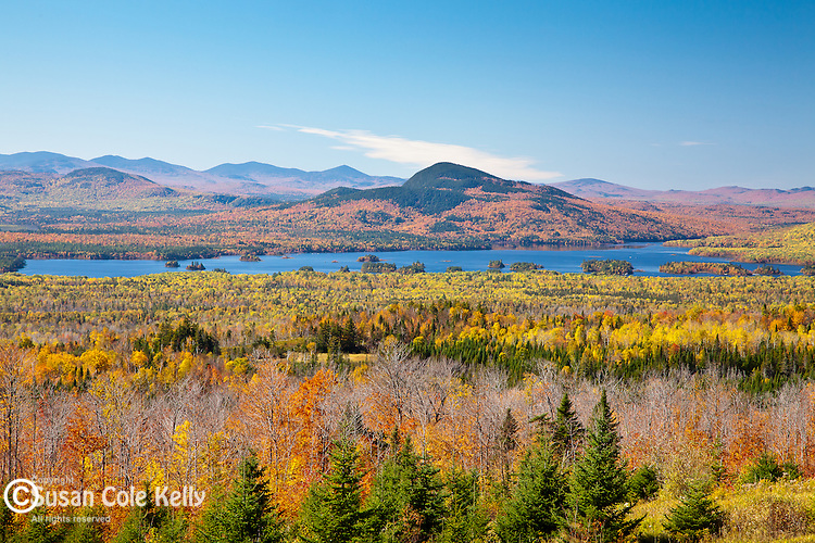 The view of Attean Mountain and Big Wood Pond in Jackman, ME, USA