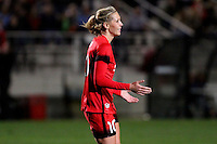 Piscataway, NJ - Sunday Sept. 25, 2016: Allie Long celebrates scoring during a regular season National Women's Soccer League (NWSL) match between Sky Blue FC and the Portland Thorns FC at Yurcak Field.