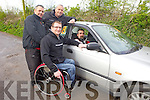 James O'Brien, Tom Barrett, Seamus O'Connor and Roy Guerin with Kerry's first modified rally car which will allow disabled drivers to take part in future events.