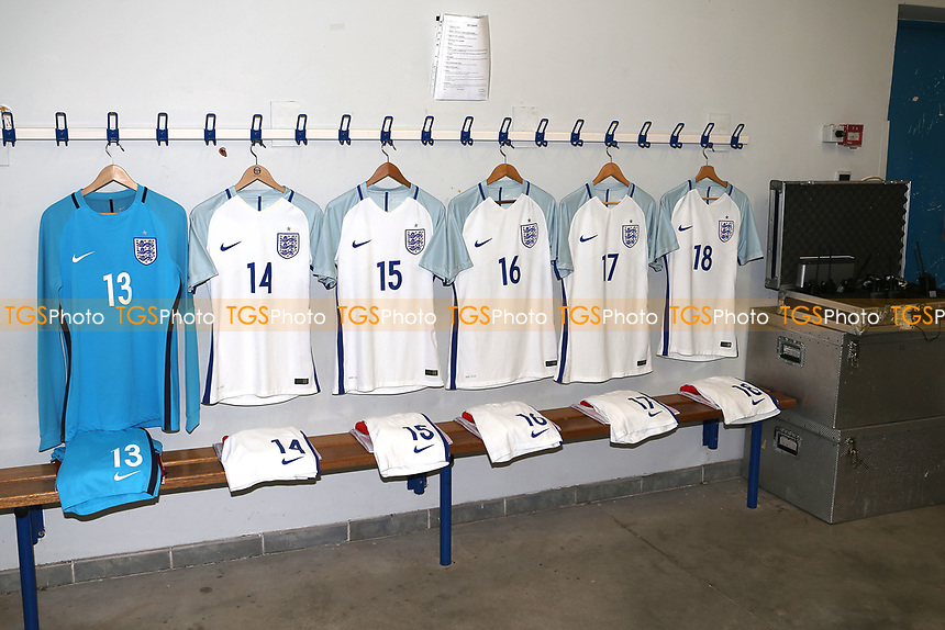 England shirts on display in the dressing room prior to kick-off during England Under-18 vs Ivory Coast Under-20, Toulon Tournament Final Football at Stade de Lattre-de-Tassigny on 10th June 2017