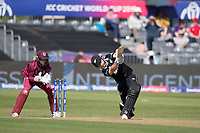 Kane Williamson (New Zealand) dawn the wicket and over the top in his innings of 85  during West Indies vs New Zealand, ICC World Cup Warm-Up Match Cricket at the Bristol County Ground on 28th May 2019