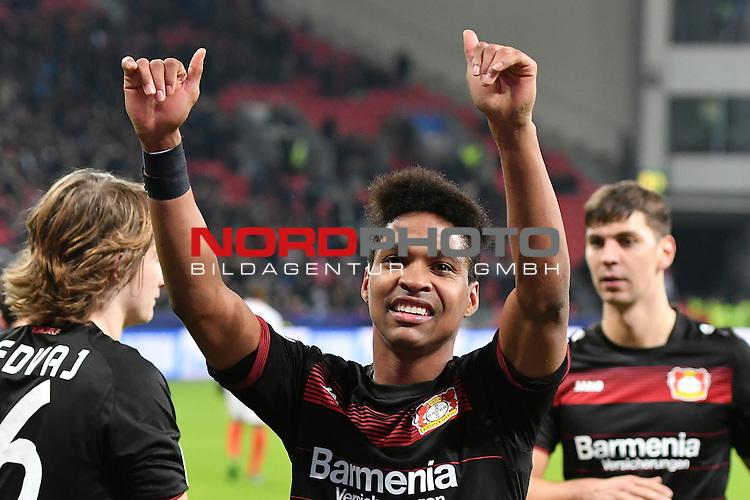 07.12.2016, BayArena, Leverkusen, Gruppe E, GER, Bayer 04 Leverkusen (GER) vs. AS Monaco (FRA)<br /> im Bild:<br /> freut sich &uuml;ber sein 11 Metertor Wendell (Leverkusen #18),<br /> <br /> <br /> <br /> Foto &copy; nordphoto / Meuter
