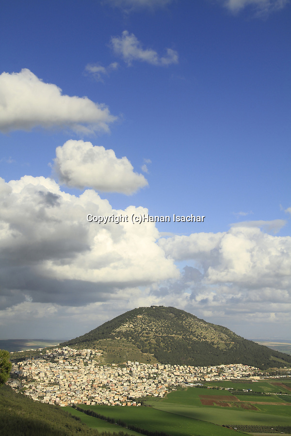 Israel, a view of Mount Tabor at the heart of Jezreel Valley, Arab village Daburiya at its foothill