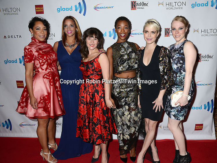 elenis Leyva and cast of Orange is the New Black attends the 25th Annual GLAAD Media Awards at the Waldorf Astoria Hotel in New York City, NY on May 3, 2014.