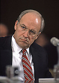 Former United States Secretary of Defense Richard (Dick) Cheney, who is rumored to be Republican Gov. George W. Bush's selection for the Vice Presidential nomination, testifies before the U.S. Senate Armed Services Committee in Washington, DC on the Persian Gulf crisis on 30 November, 1990.<br /> Credit: Ron Sachs / CNP
