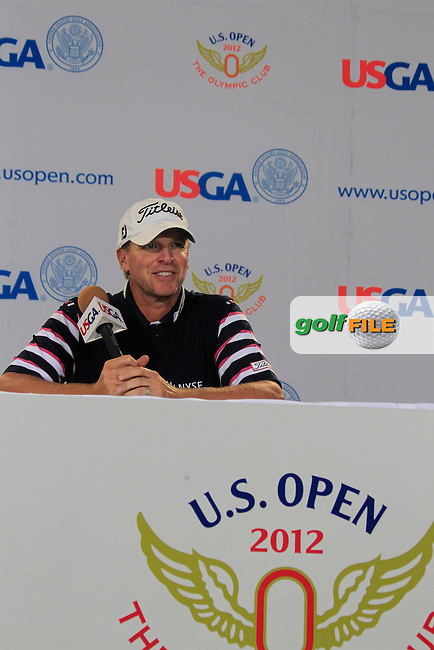 Steve Stricker (USA) gives a press conference during Tuesday's Practice Day of the 112th US Open Championship at The Olympic Club, San Francisco,  California, 12th June 2012 (Photo Eoin Clarke/www.golffile.ie)