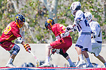 Los Angeles, CA 04/01/16 - Justin Collier (USC #20), Zachary Nandapurkar (USC #28) and Ren-Taylor Chang (Loyola Marymount #20) in action during the University of Southern California and Loyola Marymount University SLC conference game  USC defeated LMU.