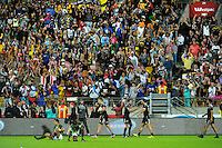Fans go wild after NZ's Joe Webber's matchwinning try at the end of the cup final against South Africa on day two of the 2016 HSBC Wellington Sevens at Westpac Stadium, Wellington, New Zealand on Sunday, 31 January 2016. Photo: Dave Lintott / lintottphoto.co.nz