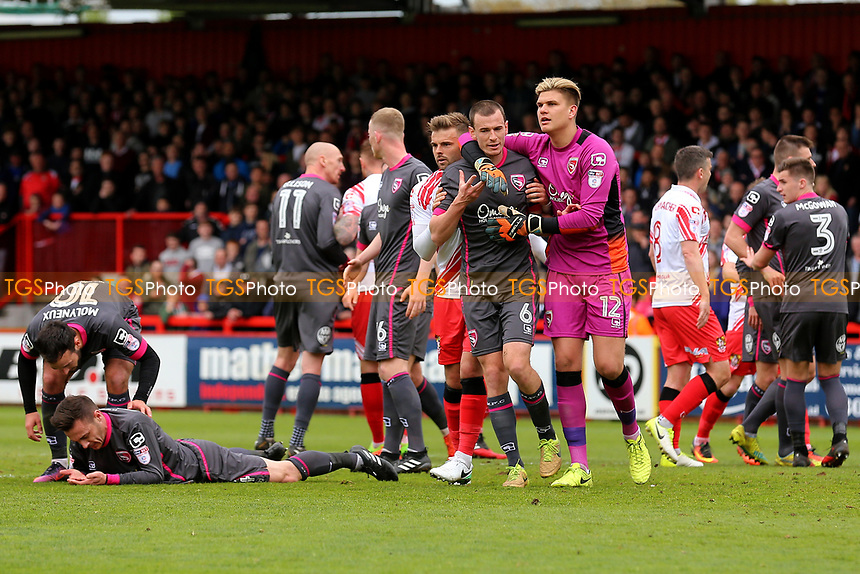 Tempers flare after a challenge bu Luke Wilkinson of Stevenage during Stevenage vs Morecambe, Sky Bet EFL League 2 Football at the Lamex Stadium on 14th April 2017