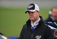 Oct. 3, 2009; Kansas City, KS, USA; NASCAR Nationwide Series driver Jason Keller during qualifying for the Kansas Lottery 300 at Kansas Speedway. Mandatory Credit: Mark J. Rebilas-