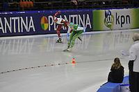 SCHAATSEN: HEERENVEEN: IJsstadion Thialf, 29-12-2015, KPN NK Afstanden, 1000m Dames, Marrit Leenstra, Jorien ter Mors, ©foto Martin de Jong