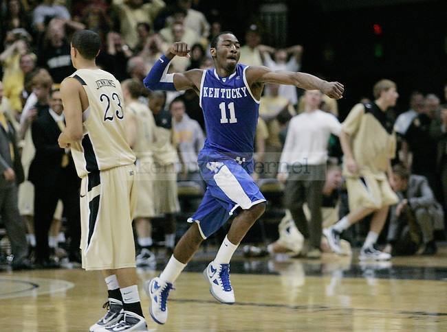 Freshman guard John Wall celebrates after UK's 58-56 win over  Vandy at Memorial Gymnasium in Nashville on Saturday, Feb. 20. 2010. Photo by Britney McIntosh | Staff