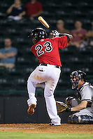 Juremi Profar (23) of the Hickory Crawdads at bat against the Charleston RiverDogs at L.P. Frans Stadium on August 25, 2015 in Hickory, North Carolina.  The Crawdads defeated the RiverDogs 7-4.  (Brian Westerholt/Four Seam Images)