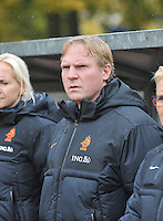 20131011 - SCHWEINFURT , GERMANY :  Dutch Assistant coach Sander Luiten pictured during the female soccer match between Belgium Women U17 and The Netherlands U17 , in the first game of the Elite round in group6 in the UEFA European Women's Under 17 competition 2013 in the Willy Sachs Stadium - Schweinfurt. Friday 11 October 2013. PHOTO DAVID CATRY