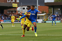 Kwesi Appiah of AFC Wimbledon  and Anthony Stewart of Wycombe Wanderers during AFC Wimbledon vs Wycombe Wanderers, Sky Bet EFL League 1 Football at the Cherry Red Records Stadium on 31st August 2019
