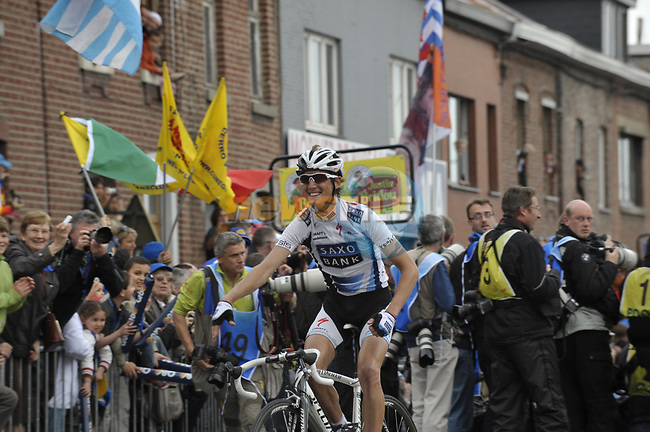Andy Schleck (LUX) Saxo Bank crosses the finish line to win solo the 95th running of Liege-Bastogne-Liege cycle race, running 261km from Liege to Ans, Belgium. 26th April 2009 (Photo by Eoin Clarke/NEWSFILE)