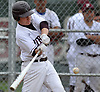 Joey Miranne #22, Mepham designated hitter, breaks a scoreless tie with a solo home run with two outs in the bottom of the fourth inning of a Nassau County varsity baseball game against MacArthur at Mepham High School on Thursday, April 27, 2017. Mepham won by a score of 3-0.