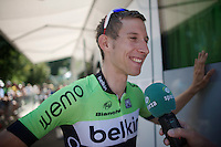 Bauke Mollema (NLD/Belkin) interviewed by Sporza after it got out that he signed with Trek Factory Racing for the next season<br /> <br /> 2014 Tour de France<br /> stage 11: Besan&ccedil;on - Oyonnax (187km)