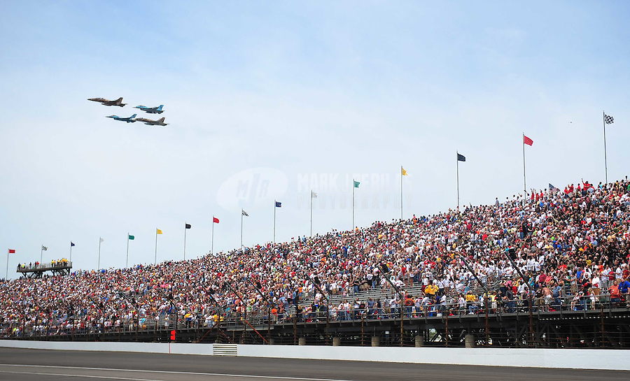 May 25, 2008; Indianapolis, IN, USA; Military jets perform a fly over prior to the 92nd running of the Indianapolis 500 at the Indianapolis Motor Speedway. Mandatory Credit: Mark J. Rebilas-