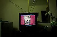 Cuban television shows a painting of Fidel Castro by Ecuadorian artist Oswaldo Guayasamin in Havana, Cuba on 28 November 2006.<br />