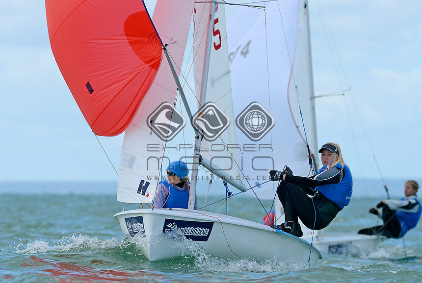 420 / Kirsty STURROCK &amp; Charlotte GRIFFIN (AUS)<br /> 2013 ISAF Sailing World Cup - Melbourne<br /> Sail Melbourne - The Asia Pacific Regatta<br /> Sandringham Yacht Club, Victoria<br /> December 1st - 8th 2013<br /> &copy; Sport the library / Jeff Crow