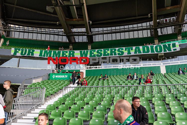 """10.08.2019, wohninvest WESERSTADION, Bremen, GER, DFB-Pokal, 1. Runde, SV Atlas Delmenhorst vs SV Werder Bremen<br /> <br /> im Bild<br /> Banner """"Für immer Weserstadion!"""" - Fanprotest der Werder-Fans zum Stadionnamen-Verkauf / Umbenennung"""", <br /> <br /> vor DFB-Pokal Spiel zwischen SV Atlas Delmenhorst und SV Werder Bremen im wohninvest WESERSTADION, <br /> <br /> Foto © nordphoto / Ewert"""