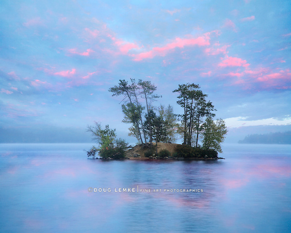 A Small Island On A Slightly Foggy Evening At Moose Pond, Maine, USA