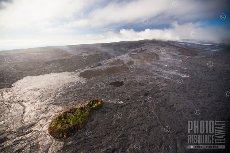 An aerial view of the Kilauea Volcano lava flow that began on June 27, 2014, Pahoa, Big Island; this image was taken in November 2014.
