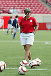 6 June 2004: U.S. head coach April Heinrichs before the game. The United States tied Japan 1-1 at Papa John's Cardinal Stadium in Louisville, KY in an international friendly soccer game..
