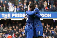 Chelsea's Kurt Zouma and Ross Barkley celebrate their sides win<br /> <br /> Photographer Stephanie Meek/CameraSport<br /> <br /> The Premier League - Chelsea v Everton - Sunday 8th March 2020 - Stamford Bridge - London<br /> <br /> World Copyright © 2020 CameraSport. All rights reserved. 43 Linden Ave. Countesthorpe. Leicester. England. LE8 5PG - Tel: +44 (0) 116 277 4147 - admin@camerasport.com - www.camerasport.com
