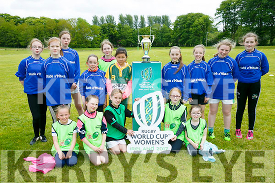 North Kerry primary schools rugby blitz get a visit by the Laddies Rugby World Cup in Listowel Town Park on Monday. Pictured front l-r Miren Vivier, Maggie Walsh, Sarah Slattery, Hazel Conway, Michaela Mcauliffe, back l-r Jane McMillan, Grace Hennessy, Mira Daniellk, Birdin Percell, Ava Reilly, Tia Linh dennehy, Niamh Barrett ,Donna Island  Leigh Kennelly  and Caoimhe Flavin  from Scoil Naisiunta Bhaile An Chrosaigh and Sliabh a Mhadra