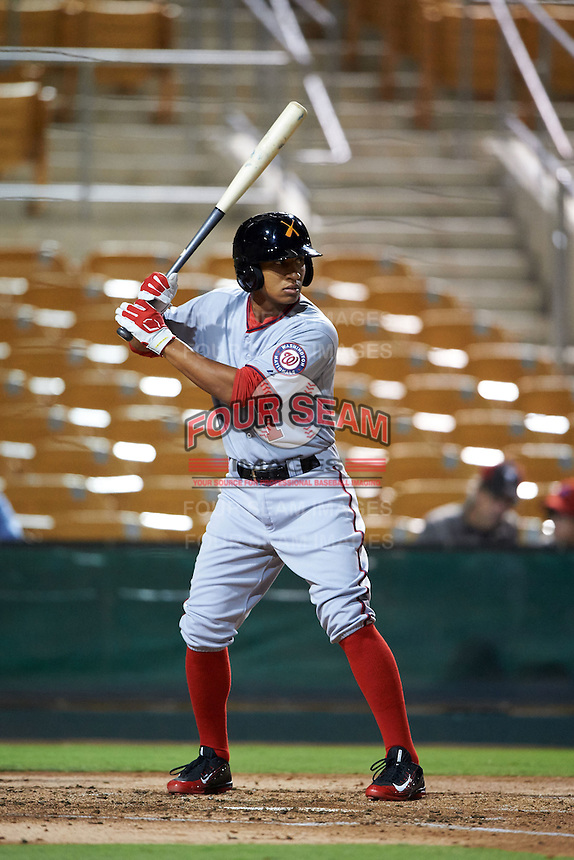 Salt River Rafters second baseman Chris Bostick (1) at bat during an Arizona Fall League game against the Glendale Desert Dogs on October 21, 2015 at Camelback Ranch in Glendale, Arizona.  Glendale defeated Salt River 1-0.  (Mike Janes/Four Seam Images)