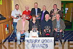 GREYHOUND AWARDS: Member's of the Kerry Greyhound Owners and Breeders Association at their annual awards ceremony at the Kingdom Greyhound Stadium on Thursday seated l-r: Steve Kennedy (Chairman Kerry GOBA), Carol Humphreys owner of Pencray Lass (Bitch of the Year), Denis Keane owner of Maybe Baby (Brood Bitch of the Year) and Vincent McKenna owner of College Causeway (Irish Derby winner). Back l-r: Patrick O'Connor (Trainer of the Year), Chris Houlihan (Owner of the Year), Liam and John Lynch owners of Lisloose Accord (winner of The Oaks) and John Bradley agent for Biddy's Boy (Dog of the Year).