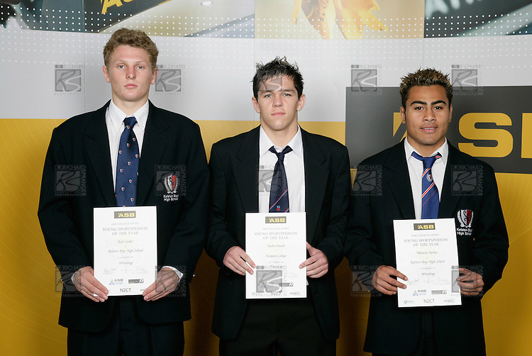 Wrestling Boys Finalists. ASB College Sport Young Sportsperson of the Year Awards 2006, held at Eden Park on Thursday 16th of November 2006.<br />