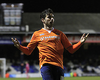 Alan Sheehan of Luton Town celebrates his equalizing goal during the Sky Bet League 2 match between Luton Town and Yeovil Town at Kenilworth Road, Luton, England on 2 February 2016. Photo by Liam Smith.