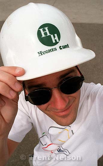 Trent Nelson with altered Hughes Hunt hard hat<br />