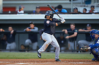 Madison Santos (58) of the Pulaski Yankees at bat against the Burlington Royals at Burlington Athletic Stadium on August 25, 2019 in Burlington, North Carolina. The Yankees defeated the Royals 3-0. (Brian Westerholt/Four Seam Images)