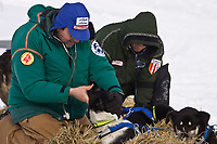 Veterinarians Glenn Cantor (L) and Dennis Griffin check Martin Buser's dogs at the White Mountain checkpoint during Iditarod 2008