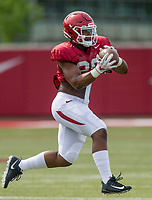 NWA Democrat-Gazette/BEN GOFF @NWABENGOFF<br /> Andrew Parker, Arkansas linebacker, catches a pass Wednesday, Aug. 8, 2018, at the Arkansas practice field in Fayetteville.