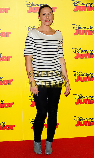 MELANIE CHISHOLM (MEL C).The Disney Junior launch party at the Museum of Childhood, London, England..May 5th, 2011.full length black top white striped stripes nautical leggings grey gray ankle boots shoes tattoos.CAP/CJ.©Chris Joseph/Capital Pictures.
