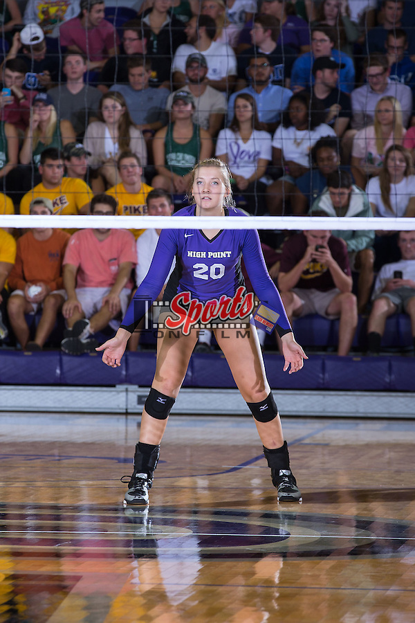Haley Barnes (20) of the High Point Panthers during the match against the UNC Greensboro Spartans at Millis Athletic Center on September 16, 2014 in High Point, North Carolina.  The Panthers defeated the Spartans 3-0.   (Brian Westerholt/Sports On Film)