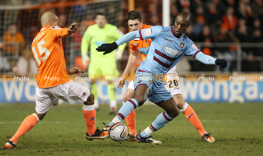 Carlton Cole of West Ham in action - Blackpool vs West Ham United, npower Championship at Bloomfield Road, Blackpool - 21/02/12 - MANDATORY CREDIT: Rob Newell/TGSPHOTO - Self billing applies where appropriate - 0845 094 6026 - contact@tgsphoto.co.uk - NO UNPAID USE..