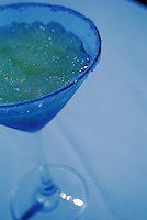 Marguerita Drink in Salt-Rimmed Glass under Blue Light