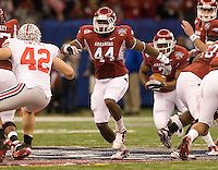 Van Stumon of Arkansas in action against Ohio State during 77th Annual Allstate Sugar Bowl Classic at Louisiana Superdome in New Orleans, Louisiana on January 4th, 2011.  Ohio State defeated Arkansas, 31-26.